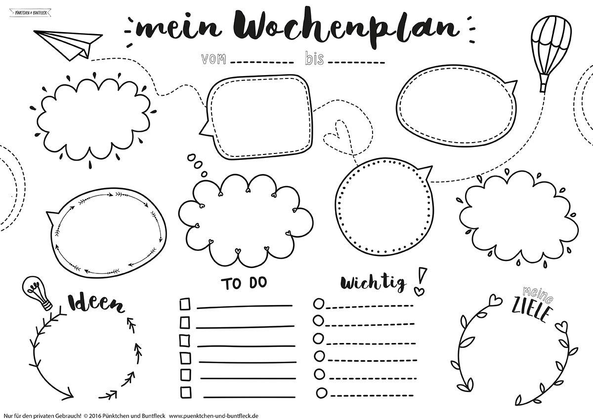 Freebie – Wochenplan DIN A3 – Pünktchen und Buntfleck